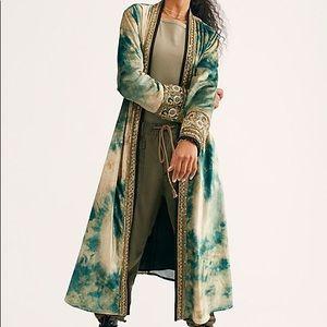 NWT Free people velvet kimono cape misty emerald